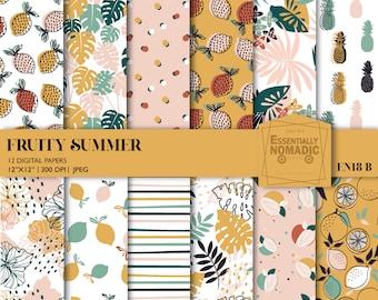 Tropical Summer Digital Paper, Fruit Seamless Pattern,Pineapple pattern Printable paper digital backdrop,Citrus digital paper download