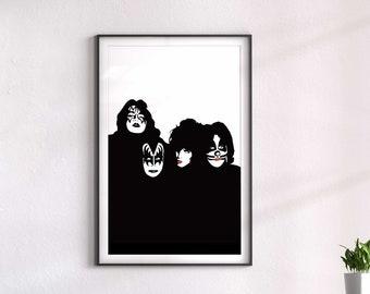 KISS I Music art, Minimalist art, Downloadable print, Printable modern, Black, Poster, Music Poster