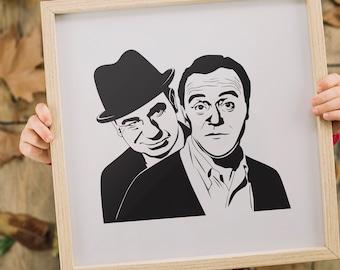THE ODD COUPLE I Movie art, Minimalist art, Downloadable print, Printable modern, Black, Poster, Square Movie Poster