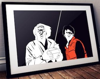 Back to the future I Movie art, Minimalist art, Downloadable print, Printable modern, Black, Poster, Movie Poster