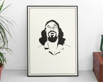 THE DUDE - The Big Lebowski I Movie art, Minimalist art, Downloadable print, Printable modern, Movie Poster, Film Poster