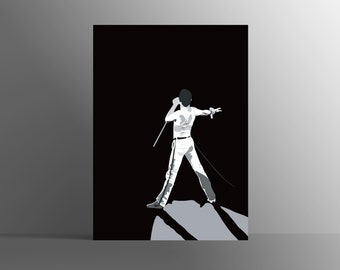 FREDDIE MERCURY I Music art, Minimalist art, Downloadable print, Printable modern, Black, Poster, Music Poster, Vector Art