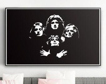 QUEEN I Music art, Minimalist art, Downloadable print, Printable modern, Black, Poster, Music Poster