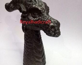 Antiques Unique Bronze Statue Dragon Sacred Cane Walking Stick Head Handle