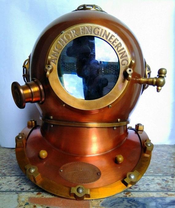 Vintage Diving Helmet 1921 Anchor Engineering Antique Navy Scuba Divers Helmet