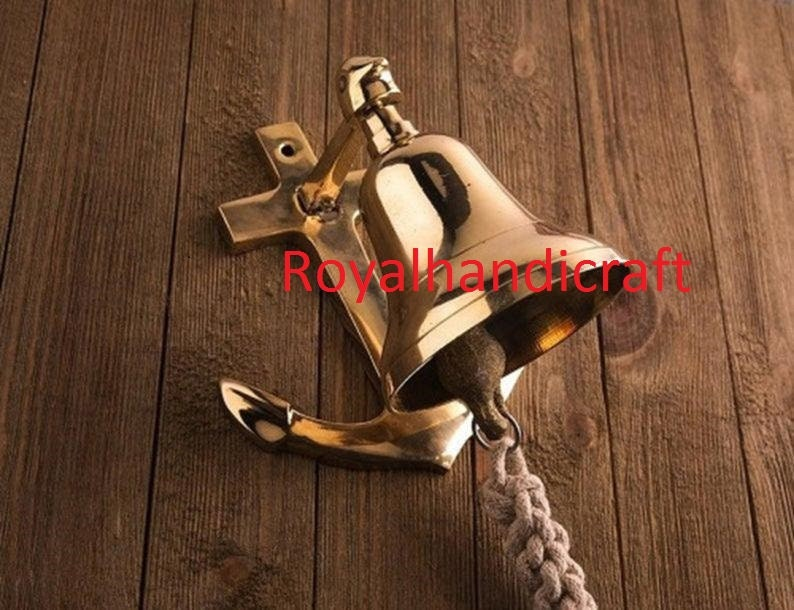Antique Brass Anchor Ship Bell Nautical Rope Lanyard Pull Maritime Wall Decor