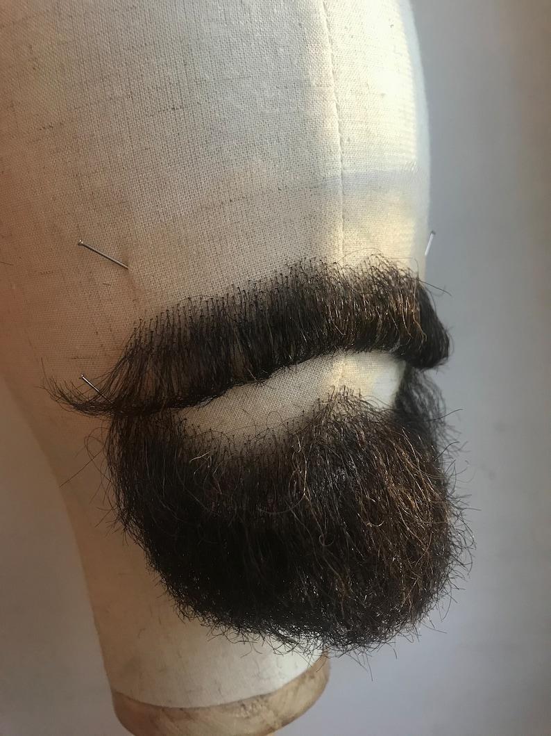 Fake beard  false realistic beard and mustache  brown beard and mustache  prosthetic beard