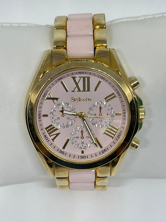 Vintage goldtone and pink Style and Co watch