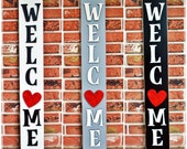 LARGE Interchangable Welcome Porch sign with attachments, Vertical Front Door sign with options for O, holiday seasonal decor