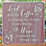 """Custom for Christina,  """"My Cup Overflows With Your Blessings"""", handpainted and engraved sign with coffee cup and flourishes"""