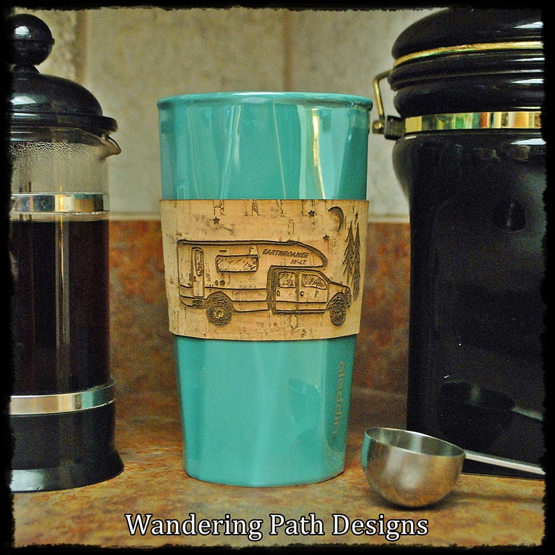 EarthRoamer RV Personalized Cork Coffee Sleeve Coffee Cozie image 0