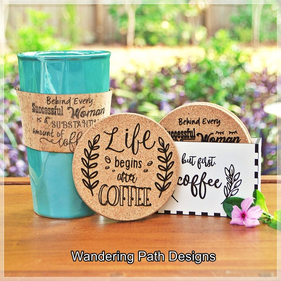 coaster box set of reversible coffee quote coasters set of