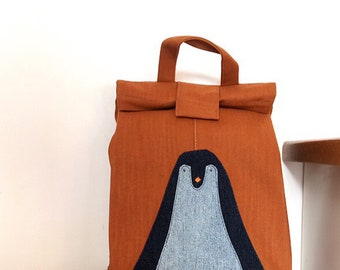 Punk Rocker Pup Backpack  handmade recycled denim backpack book bag eco-friendly gifts for kids school bag