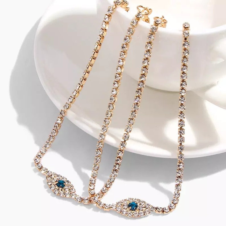 Lobster Clasp Closure Made From Rhinestone 7cm Extension Eye Charm Double Layer Rhinestone Eye Anklet 25cm