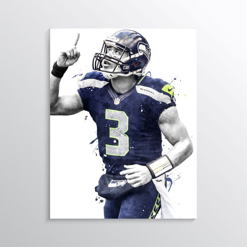 official photos 4d9bf 3d8cc Russell Wilson poster, Seattle Seahawks wall art, NFL wall decor, Sports  prints, american football poster, kids wall art, Gift, boys room