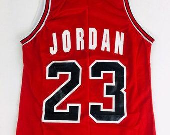 44db4206014 Michael Jordan Jersey Vintage Jersey Chicago Bulls Jersey 90s NBA Basketball  Jersey Red