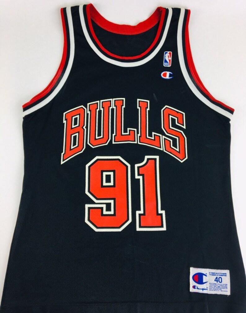 buy popular 34dc5 0d7f8 Vintage Dennis Rodman Jersey Chicago Bulls Jersey 90s Jersey Black Jersey  Vintage Chicago Bulls Jersey Champion Jersey Size 40
