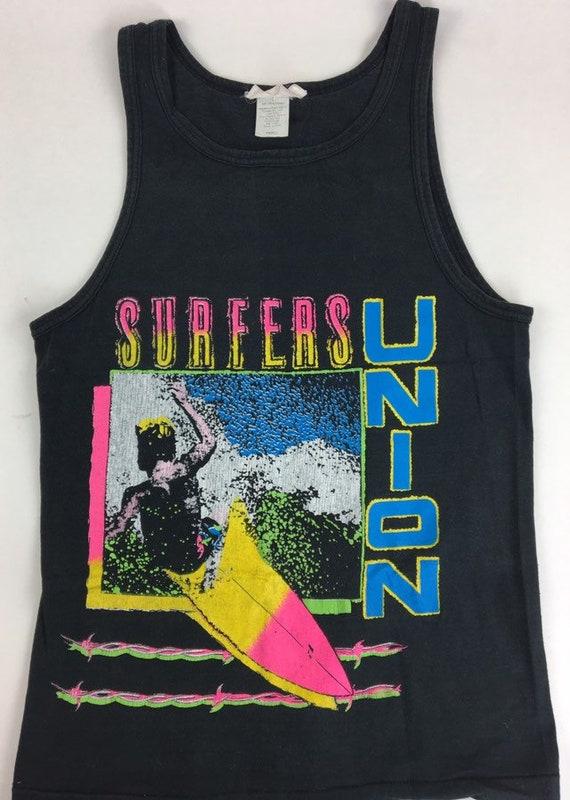 Vintage Tank Top Surfers Union Tank Top Neon Color