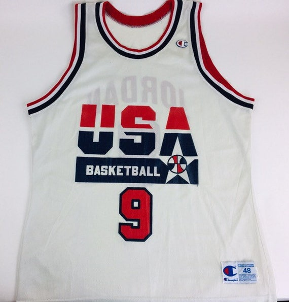outlet store 8ce45 93898 Vintage Michael Jordan Jersey USA Basketball Jersey Jordan Jersey Vintage  Champion Jersey NBA Jersey Basketball Jersey Size 48