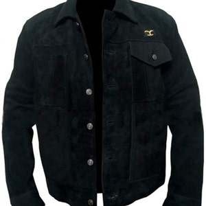 Mens Cowboy Cole Hauser Stylish Black Suede Leather Jacket