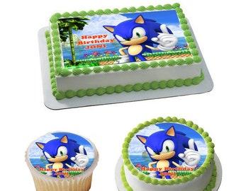 Stupendous Sonic The Hedgehog Cake Topper Etsy Personalised Birthday Cards Veneteletsinfo