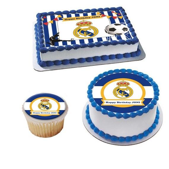 Admirable Eetbare Real Madrid Taart Topper Met Je Eigen Bijschrift Etsy Funny Birthday Cards Online Elaedamsfinfo
