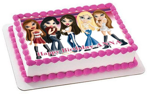 Tremendous Edible Bratz Cake Topper With Your Own Caption Custom Picture Etsy Personalised Birthday Cards Akebfashionlily Jamesorg