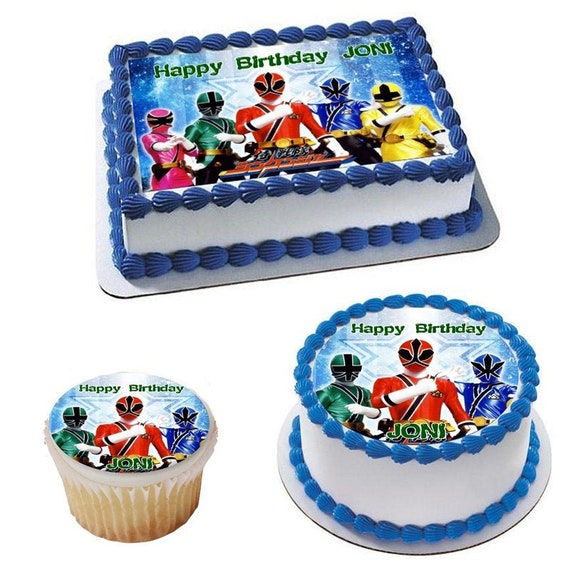 Admirable Edible Power Rangers Cake Topper With Your Own Caption Custom Etsy Funny Birthday Cards Online Inifodamsfinfo