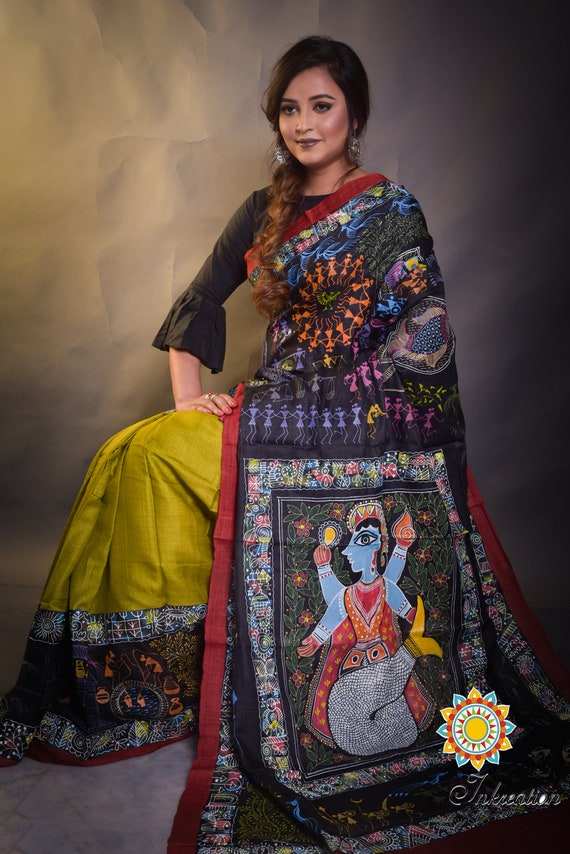Unique Madhubani and Worli hand painted fusion sari on Pure Tussar with Blouse Piece