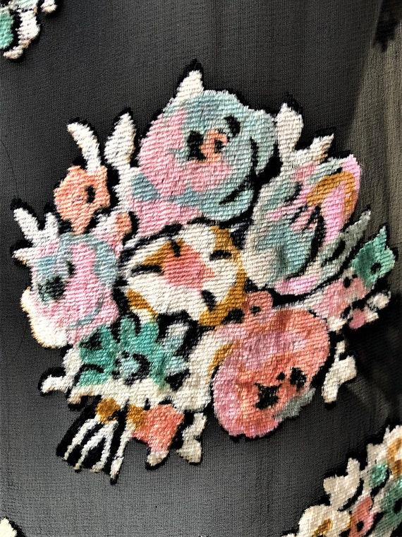 1920s silk chiffon floral bouquet devore dress - image 7