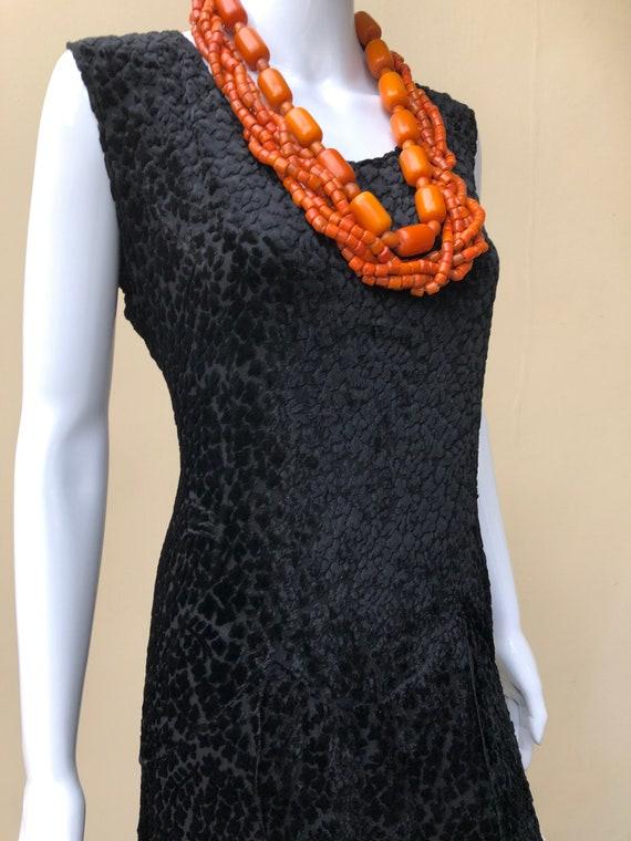 1920s black devore evening dress