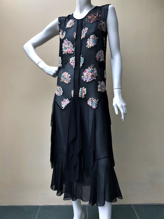1920s silk chiffon floral bouquet devore dress