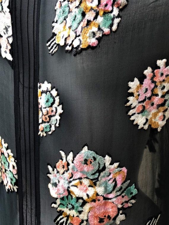 1920s silk chiffon floral bouquet devore dress - image 2