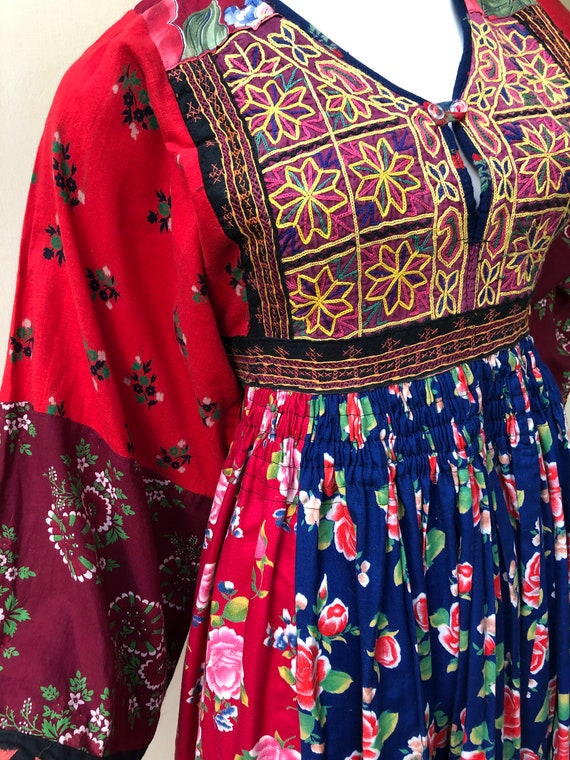 Vintage embroidered kuchi gypsy dress with patchwo