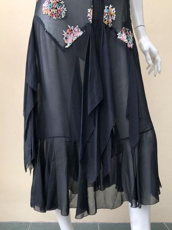 1920s silk chiffon floral bouquet devore dress - image 4