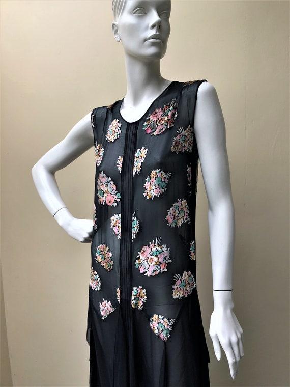 1920s silk chiffon floral bouquet devore dress - image 5