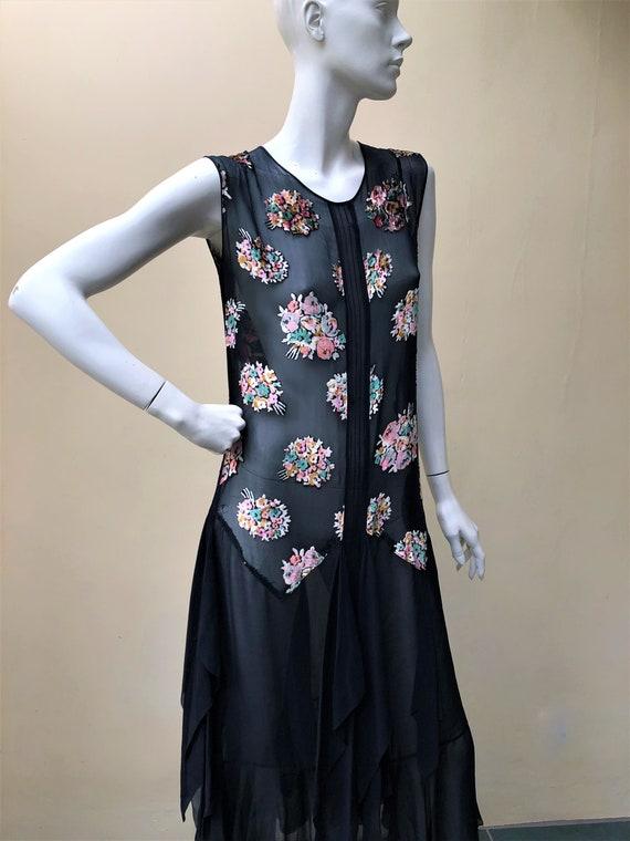 1920s silk chiffon floral bouquet devore dress - image 3