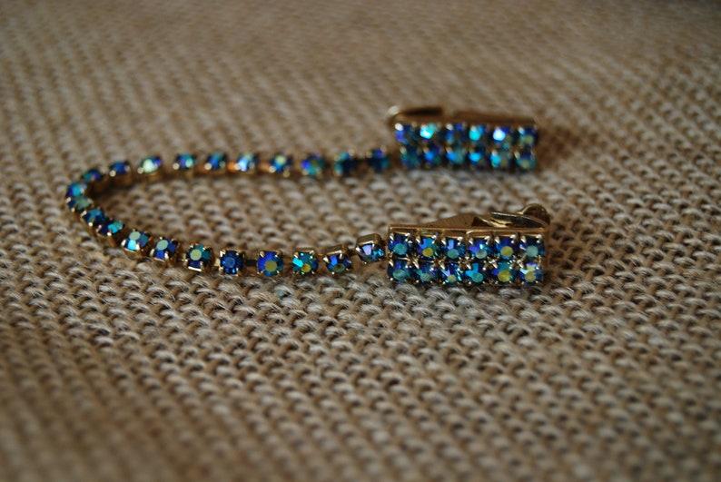 Vintage Blue Rhinestone Sweater Clip