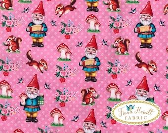 Pink Gnomes Cotton fabric 0.5M x 1.48M vintage garden gnomes kitsch retro gmomes Fiona Hewitt fabric