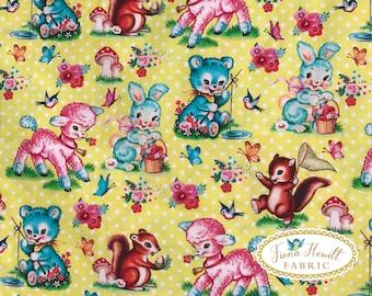 Vintage Animals Cotton fabric 0.5M x 1.48M kitsch animal decal style retro cotton fabric
