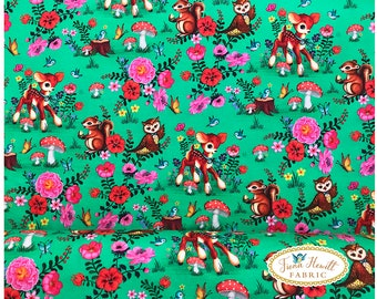 bambi and Friends Green jersey fabric 0.5M x 1.42M by Fiona Hewitt fabric vintage bambi, kitsch happy forrest deer fabric