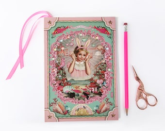 Double happiness A5 notebook, 80 page journal, sea themed notebook, bunny ears girl, 80 paged notebook with bookmark, vintage notebook