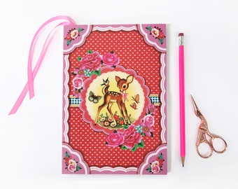 Sweet Deer A5 notebook, bambi journal, 80 paged notebook with bookmark, happiness notebook