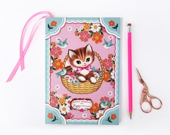 Sweet Cat A5 notebook, joyful thoughts journal, kitty notebook, 80 paged notebook with bookmark, cat notebook