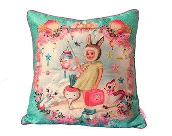 Bunny Girl Cushion with pink piping (cover only), 45cm x 45cm, bunnies, Asian, Kitsch, retro, 50's style, Fiona Hewitt