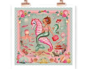 Mermaid signed print, A4 vintage asian style, retro, Kitsch, underwater, octopus, cute fish, Fiona Hewitt mermaid, print only
