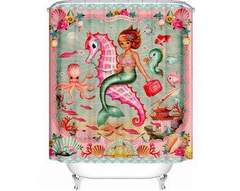 Mermaid Shower Curtain vintage mermaid sea creatures octopus shower curtain by Fiona Hewitt 180cm x180cm