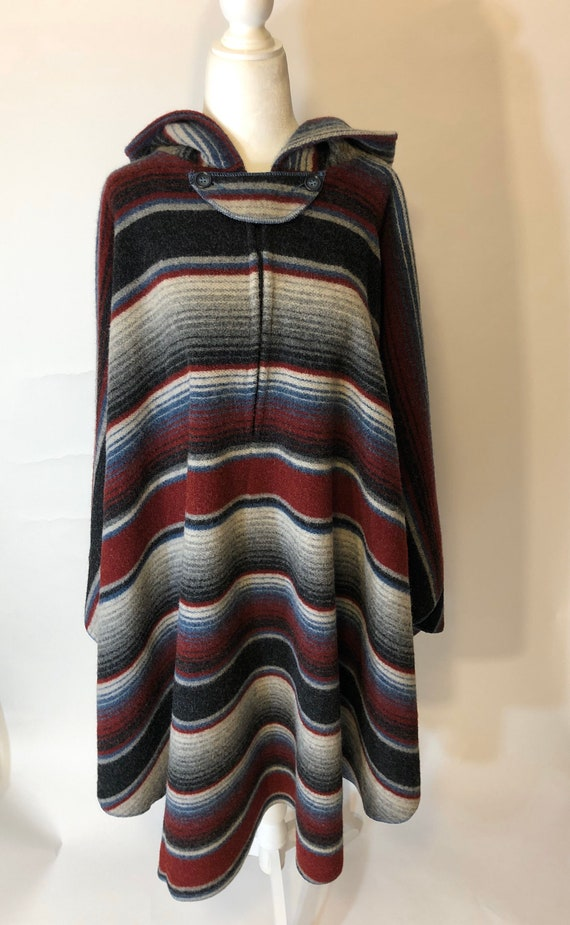 RARE Giorgio Saint/'Angelo Hooded Wrap Vintage 70s Handwoven Long Poncho or Cape One Size