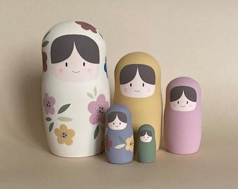 Russian nesting dolls - Wooden stacking toy - Burnt Orange nursery décor - Boho Baby Shower Gift - Matryoshka dolls family