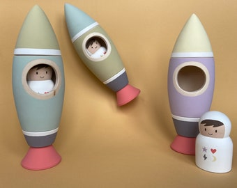 Wooden rocket toy with astronaut - Matryoshka space ship - Russian nesting doll - Space theme nursery decor - Space baby shower gift